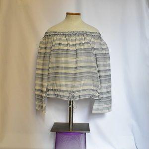 Theory Off-Shoulder Striped Cotton Blouse sz L